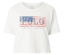 Crop-Shirt mit Flaggen-Print und Logo