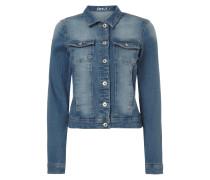 Stone Washed Jeansjacke mit Umlegekragen