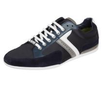 Sneaker aus Veloursleder mit Kontrastbesatz