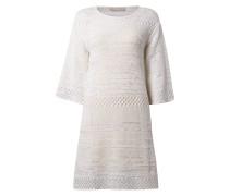 Kleid mit Bändchengarn und Dreiviertel-Ärmel