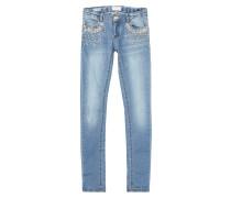 Slim Fit 5-Pocket-Jeans mit Pailletten-Besatz