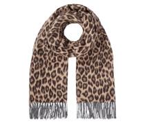 Schal aus Woll-Mix mit Leopardenmuster