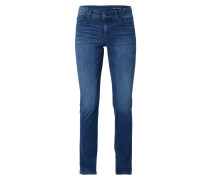 Stone Washed Straight Fit Jeans