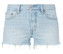 501 SHORT - Stone Washed Jeansshorts mit Fransen