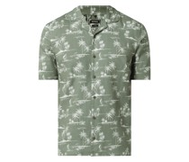 Slim Fit Leinenhemd mit Baumwoll-Anteil Modell 'Leo'