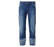Cropped Jeans mit ausgefransten Beinabschlüssen