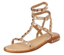 Sandalen aus Leder in Metallicoptik mit Nieten