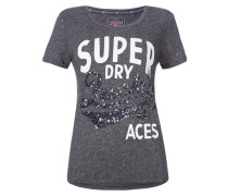 T-Shirt mit Pailletten-Besatz