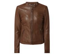 Lederjacke mit Reißverschlusstaschen Modell 'Karine'
