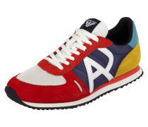 Sneaker aus Veloursleder mit Meshbesatz