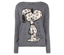 Pullover mit Snoopy-Motiv und Ziersteinen