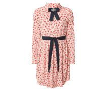 Hemdblusenkleid aus Krepp mit Allover-Muster