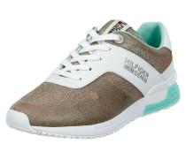 Sneaker aus Leder und Textil mit Glitter-Effekt