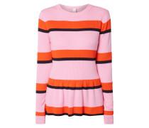 Pullover mit Schößchen und Streifenmuster