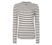 Serafino-Shirt mit Streifenmuster