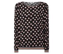 Blusenshirt mit gerippten Kontrastabschlüssen