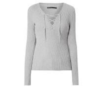 Pullover mit V-Ausschnitt und Schnürung