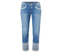 Stone Washed Jeans mit Stickereien - verkürzt