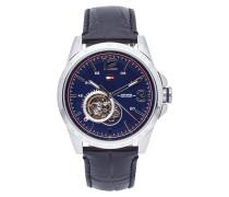 Uhr aus Edelstahl mit Armband aus echtem Leder