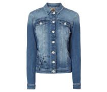 Jeansjacke mit Prints und Pailletten-Besatz