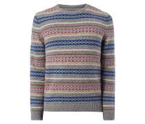 Pullover mit eingestricktem Ikatmuster