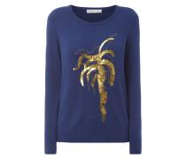 Pullover mit Palmen-Stickerei und Pailletten