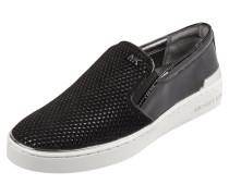 Slip-On Sneaker aus echtem Velours- und Lackleder
