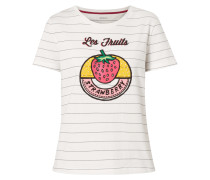 Shirt mit Print und Zierperlen