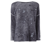 Oversized Pullover mit Sternen-Stickereien