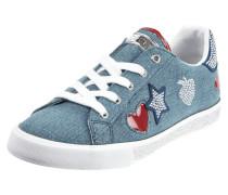 Sneaker in Denimoptik mit Aufnähern
