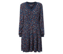 Kleid mit geripptem V-Ausschnitt