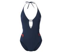 Badeanzug mit Neckholder und Zip-Detail - bügellos