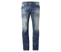 Straight Fit 5-Pocket-Jeans im Used Look