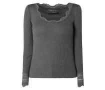 Shirt aus Seide-Baumwoll-Mix mit Spitzenbesatz