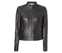 Slim Fit Lederjacke im Biker-Look