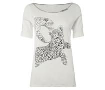 Shirt mit Geparden-Flock-Print und Glitter-Effekt