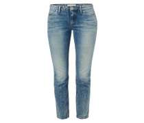 Old Blue Washed Straight Fit Cropped Jeans