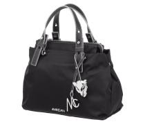 Handtasche mit Details aus Leder