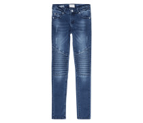 Slim Fit Jeans im Used Biker-Look