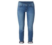 Skinny Fit Jeans mit Zierquasten