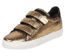Sneaker aus echtem Leder in Goldoptik