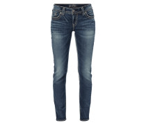 Stone Washed Skinny Fit Jeans mit Pattentaschen