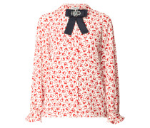 Bluse aus Krepp mit Zierschleife