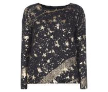 Pullover mit Print in Metallicoptik
