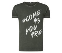 T-Shirt mit Message-Print - handbemalt