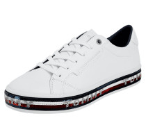Sneaker aus Leder mit Pailletten