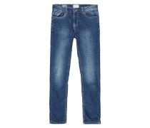 Stone Washed Slim Fit 5-Pocket-Jeans - gefüttert