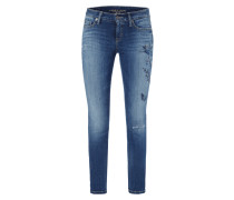 Skinny Fit 5-Pocket-Jeans mit floralen Stickereien