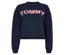 Cropped Sweatshirt mit Logo-Aufnäher