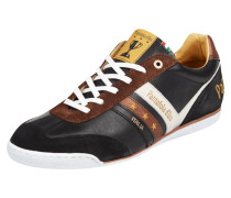 Sneaker aus Glattleder mit Kontrastbesatz